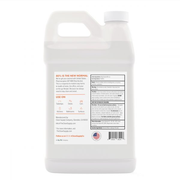 Clean Supply Multi-Surface Cleanser Half Gallon Back
